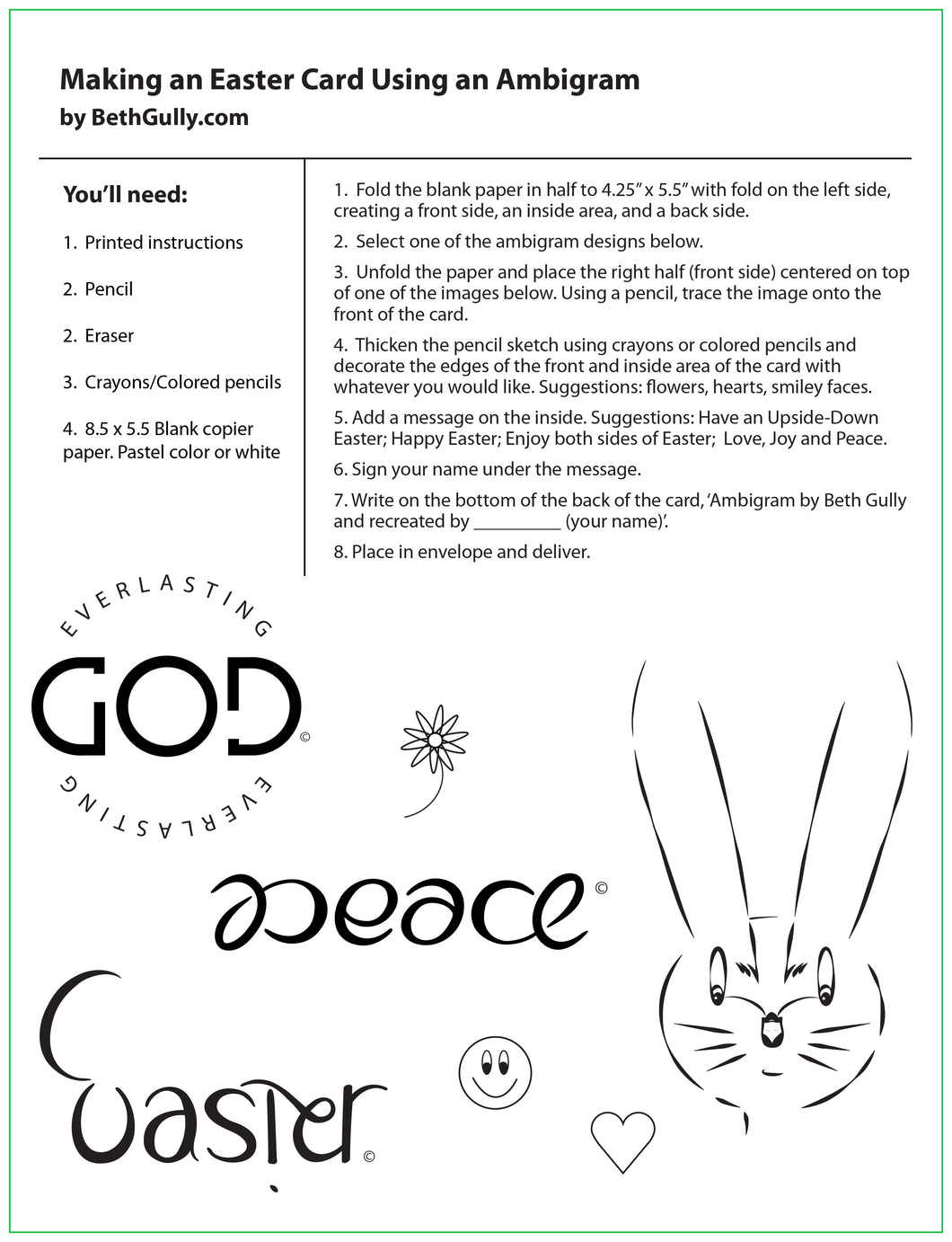 Making an Ambigram Easter Card Worksheet