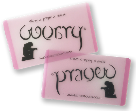 """Worry Prayer Wallet Cards"" - Set of 100 - SPECIAL PRICING - PINK"