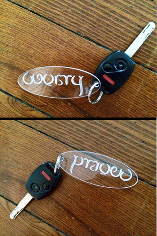 """Worry Prayer Clear Acrylic Keychains"" (Set of Two)"