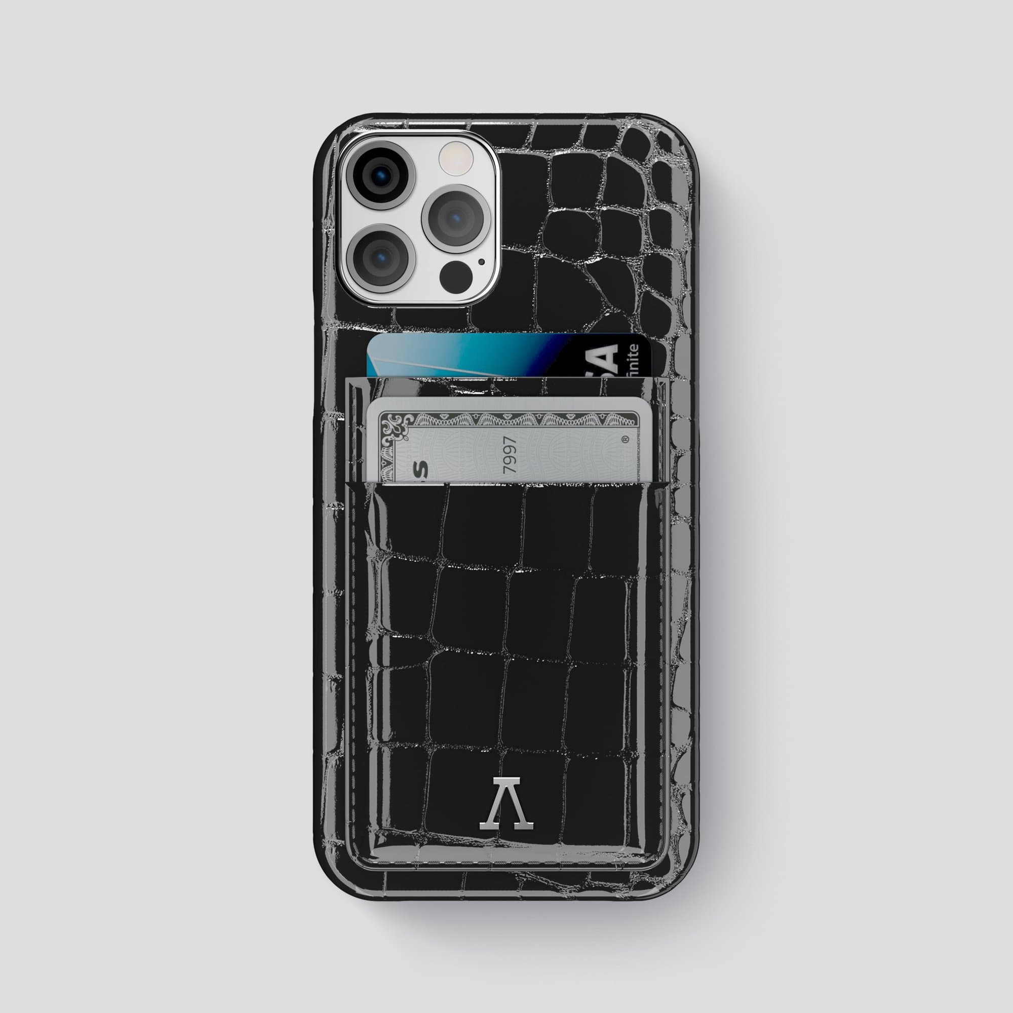 iPhone 12 Pro Max Double Card Case Shiny Alligator