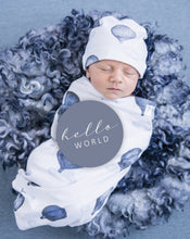 Load image into Gallery viewer, baby with milestone cards  and swaddled