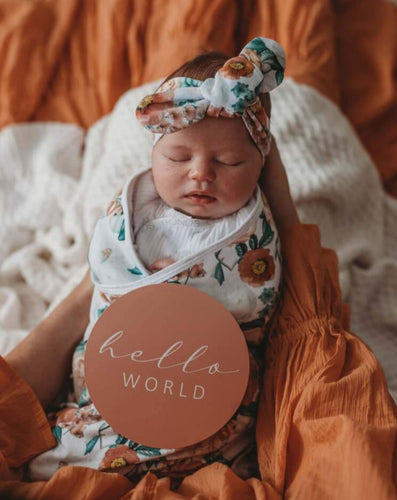 baby in a swaddle with hello world card
