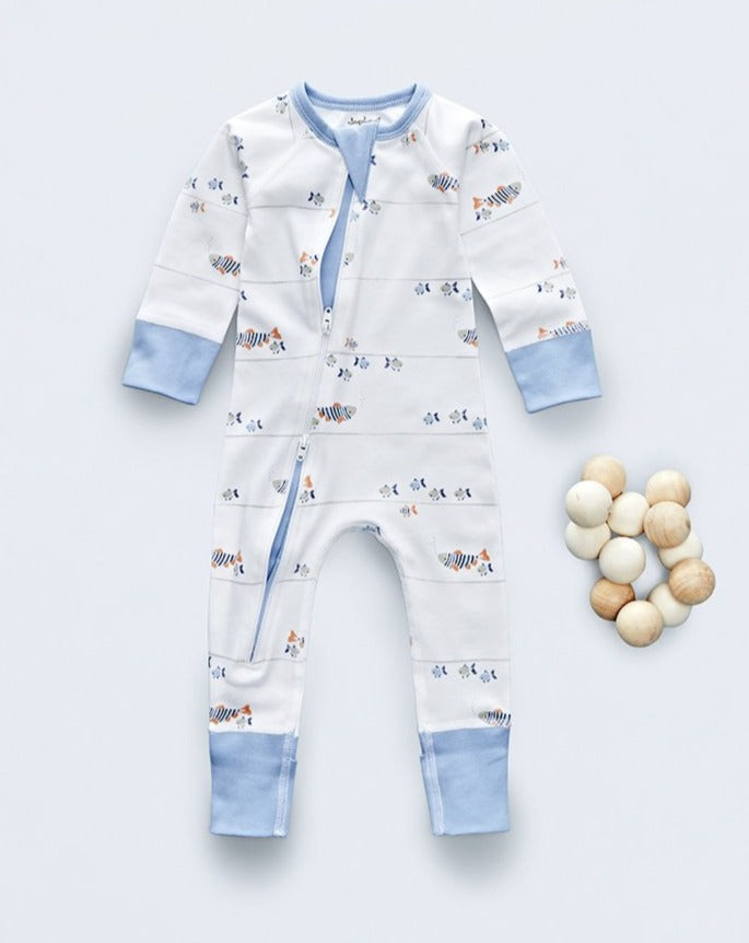 Water baby zip romper