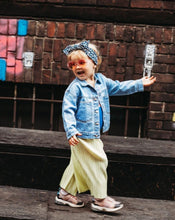 Load image into Gallery viewer,  toddler in denim jacket walking with sunglasses and hedband