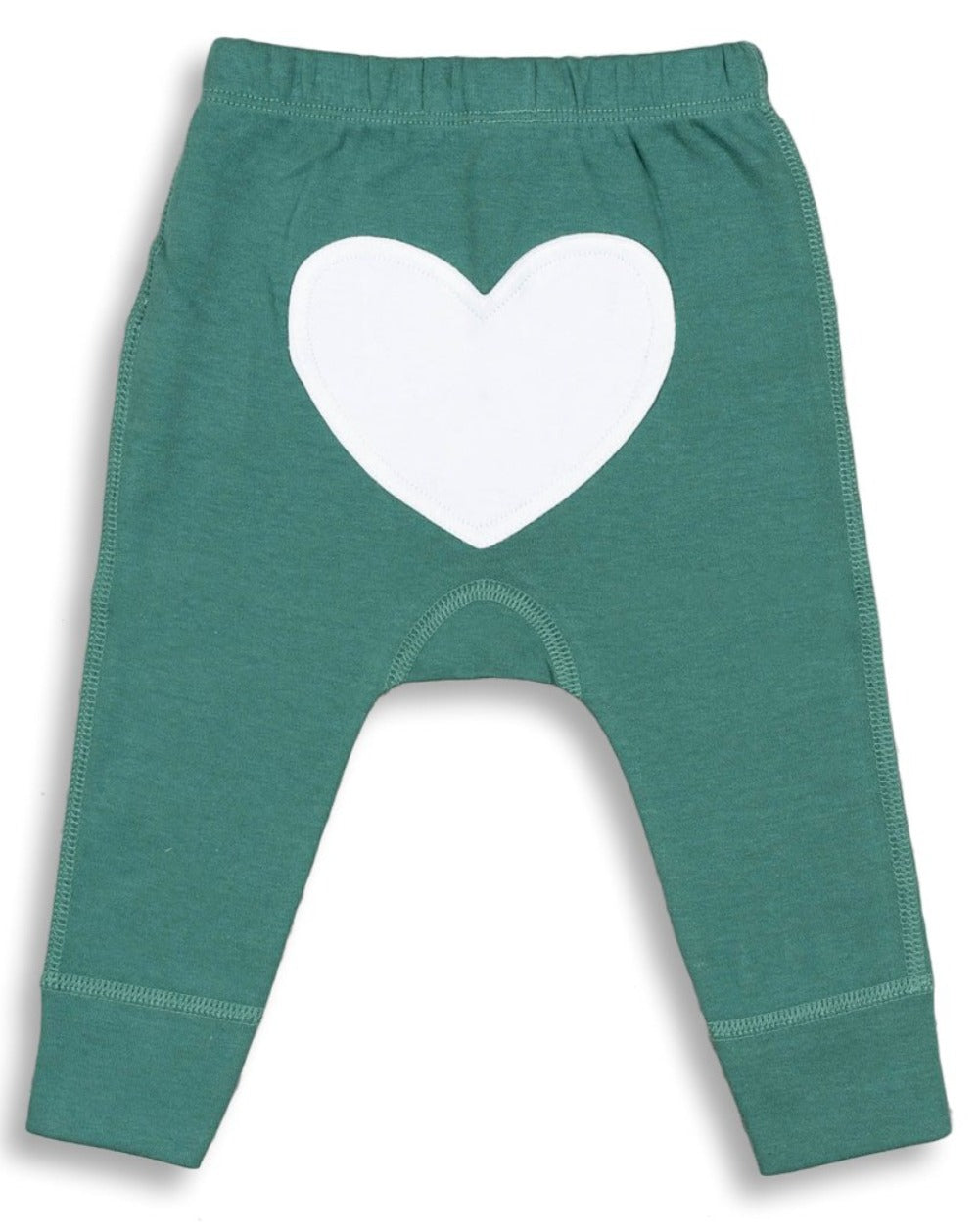 Green heart pants back