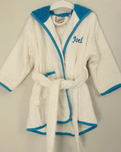 Load image into Gallery viewer, Blue and white dressing gown