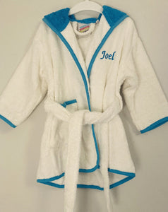 Blue and white dressing gown