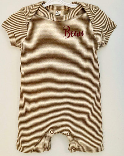 Personalised stripy brown romper with short sleeves and legs