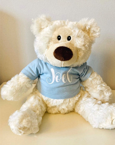 Cream bear with blue printed tee