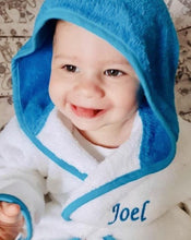 Load image into Gallery viewer, Boy in Blue and white dressing gown with hood up
