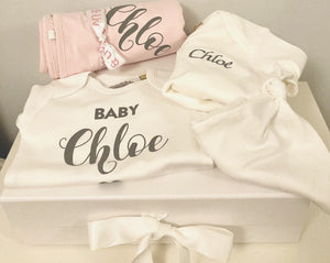 Personalised Pink Baby Gift Set