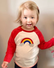 Load image into Gallery viewer, Toddler in Rainbow baseball top