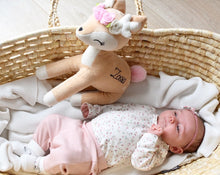 Load image into Gallery viewer, baby in basket with deer
