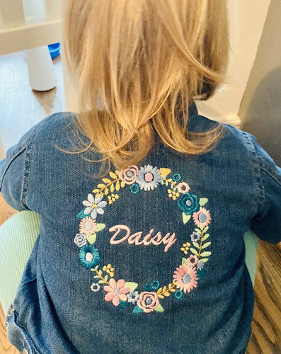 Flower denim jacket