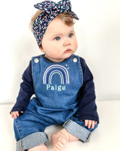 Load image into Gallery viewer, Baby Rainbow Organic Denim Dungarees