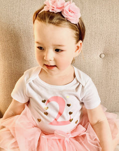 Pink Gold Birthday Bodysuit - Long or Short Sleeve