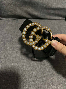 GG Pearl Embellished leather belt