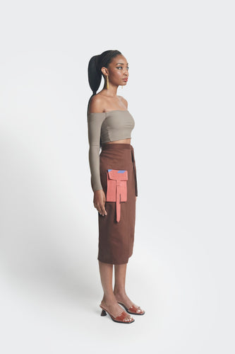 high waisted midi skirt by emmy kasbit