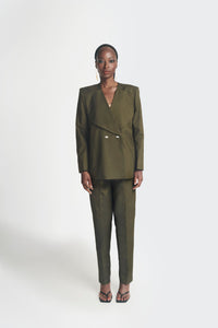 Army green oversized womens suit by Emmy Kasbit
