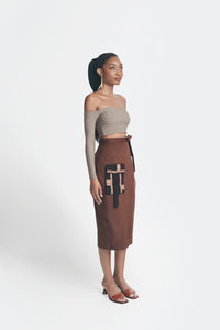 Statement Skirt - Brown w/ Black