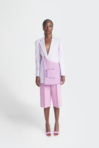 Statement Blazer with Akwete flap detail in purple by Emmy Kasbit