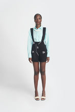 Load image into Gallery viewer, Emmy Kasbit black and white Akwete shorts with suspenders