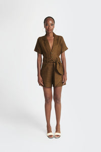 womens playsuit with Akwete accents and waist belt by Emmy Kasbit