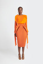 Load image into Gallery viewer, Statement blouse with exaggerated lapels and bow tie cuffs in orange by Sukeina