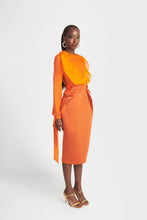Load image into Gallery viewer, Statement structured skirt with pockets  by Sukeina in orange