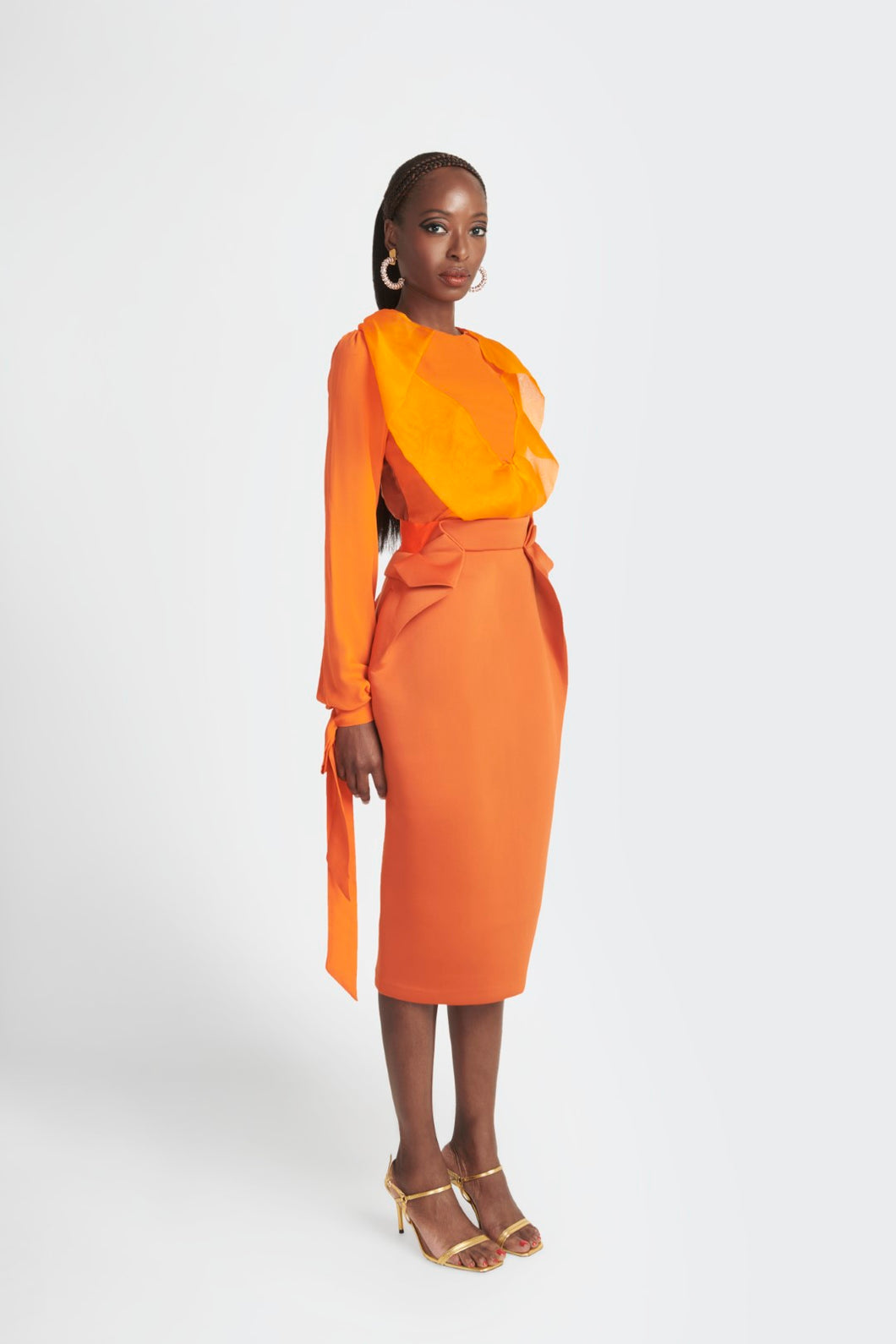 Statement structured skirt with pockets  by Sukeina in orange