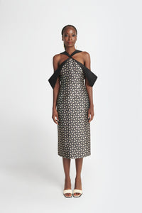 womens midi dress in Geometric Jacquard Twill by Washington Roberts