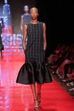Load image into Gallery viewer, Washington Roberts Slight A-line midi dress with jacquard silk twill ruffled hem. Has cutout at back, with side seam pocket.
