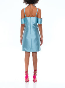 Off the shoulder Satin face Silk organza mini dress in blue by Washington Roberts