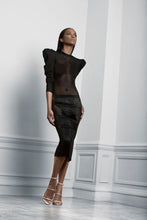 Load image into Gallery viewer, Cocktail or evening black with lace and fringe dress by Sukeina
