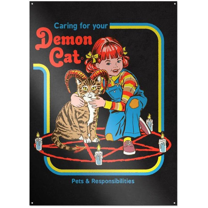 Steven Rhodes - Caring for your Demon Cat - Metallschild