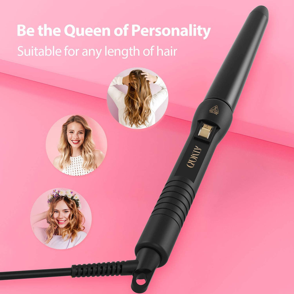 ELLESYE Curling Wand Tongs, 25 28 32mm Tapered Curling Iron for Long Short Hair, Hair Curler with 210℃ Constant Temperature, Dual Voltage 100V - 240V by ATMOKO