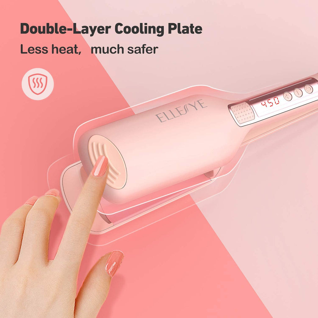 ELLESYE Crimper Hair Iron, Ceramic Hair Crimpers and Wavers with 14 Temperatures 210℉-450℉,Dual Voltage Hair Waver for Short&Long Hair,1 inch/25 mm Hair Waver Iron with 60min Auto-Off,Pink