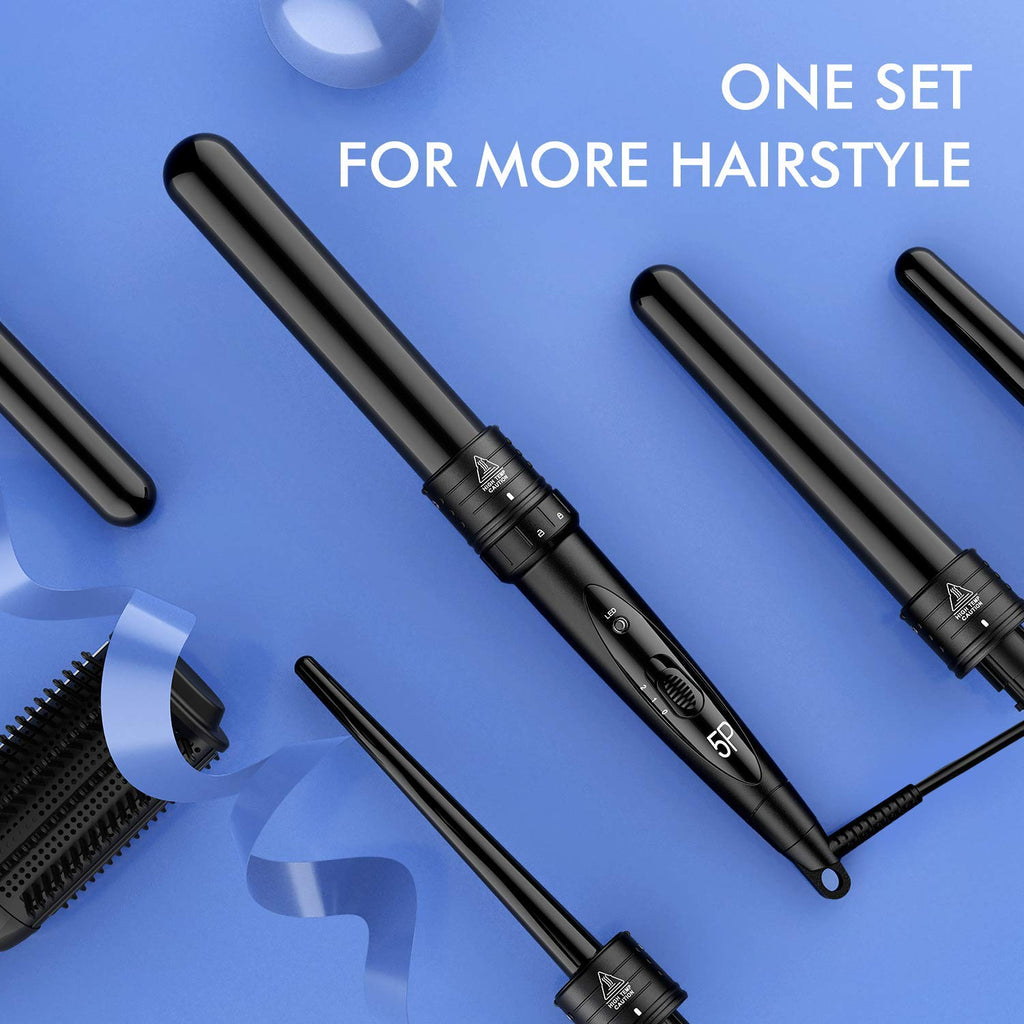 Homitt ATMOKO by 5 in Curling Wand Set with 5 Interchangeable Hair Wand Curling Iron Ceramic Barrels and a Heat Protective Glove, Black (Pack of 5)