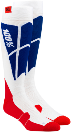 100% HI SIDE MX WHITE/BLUE SOCK