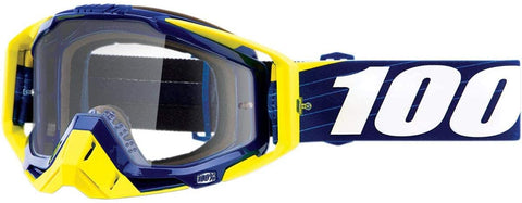 100% THE RACECRAFT BIBAL/NAVY/CLEAR LENS GOGGLE