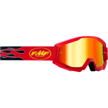 FMF PowerCore Goggles - Flame - Red - Red Mirror