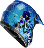 GMAX YOUTH MX-46Y OFF-ROAD ANIM8 HELMET BLUE/SILVER/BLACK
