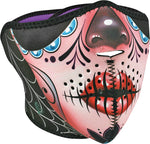 ZAN NEOPRENE HALF MASK SUGAR SKULL/PURPLE REVERSIBLE