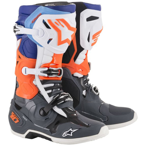 ALPINESTARS TECH 10 CYAN/GREY/ORANGE FLUO/BLACK/WHITE BOOT