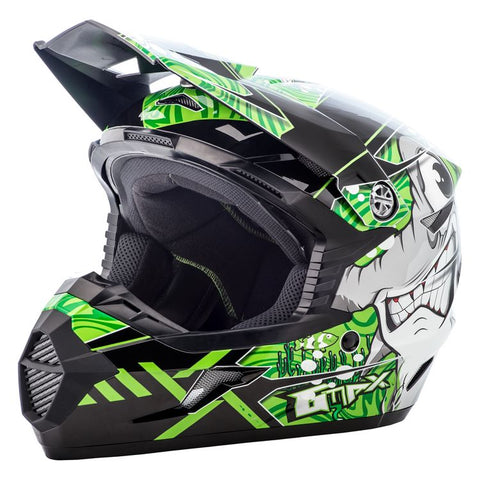 GMAX MX46Y HOOPER BLACK/GREEN YOUTH HELMET