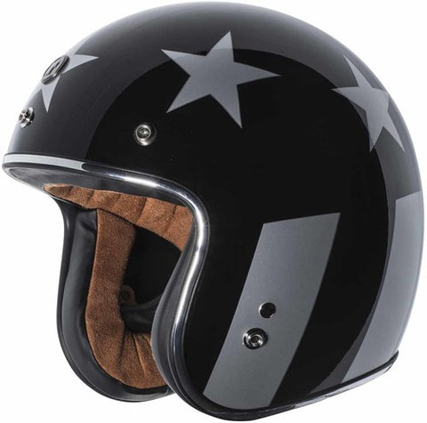 TORC T-50 3/4 FLAG GLOSS BLACK HELMET