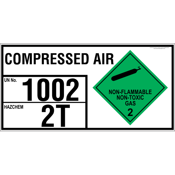 Compressed Air - Emergency Information Panel - For Storage