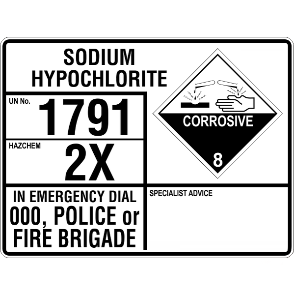 Emergency Information Panel - Sodium Hypochlorite