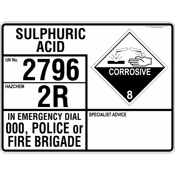 Emergency Information Panel - Sulphuric Acid