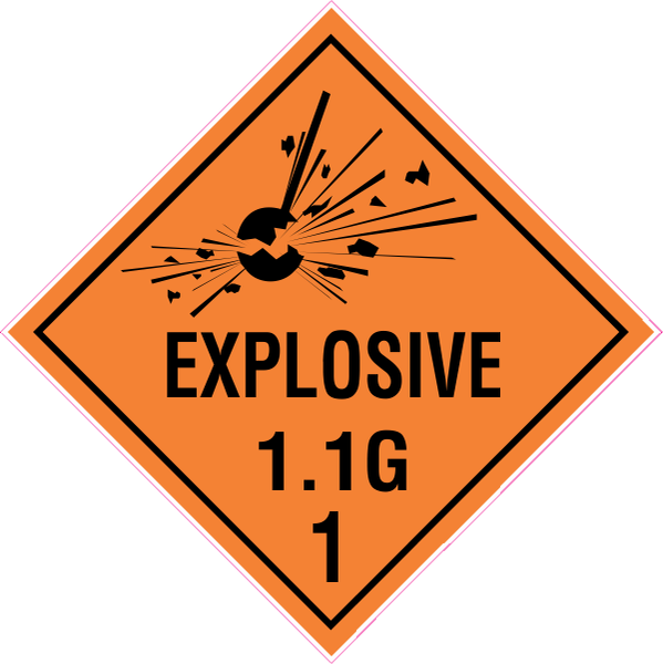 Hazchem Diamond  Class 1 - Explosive 1.1 Group G  Sign